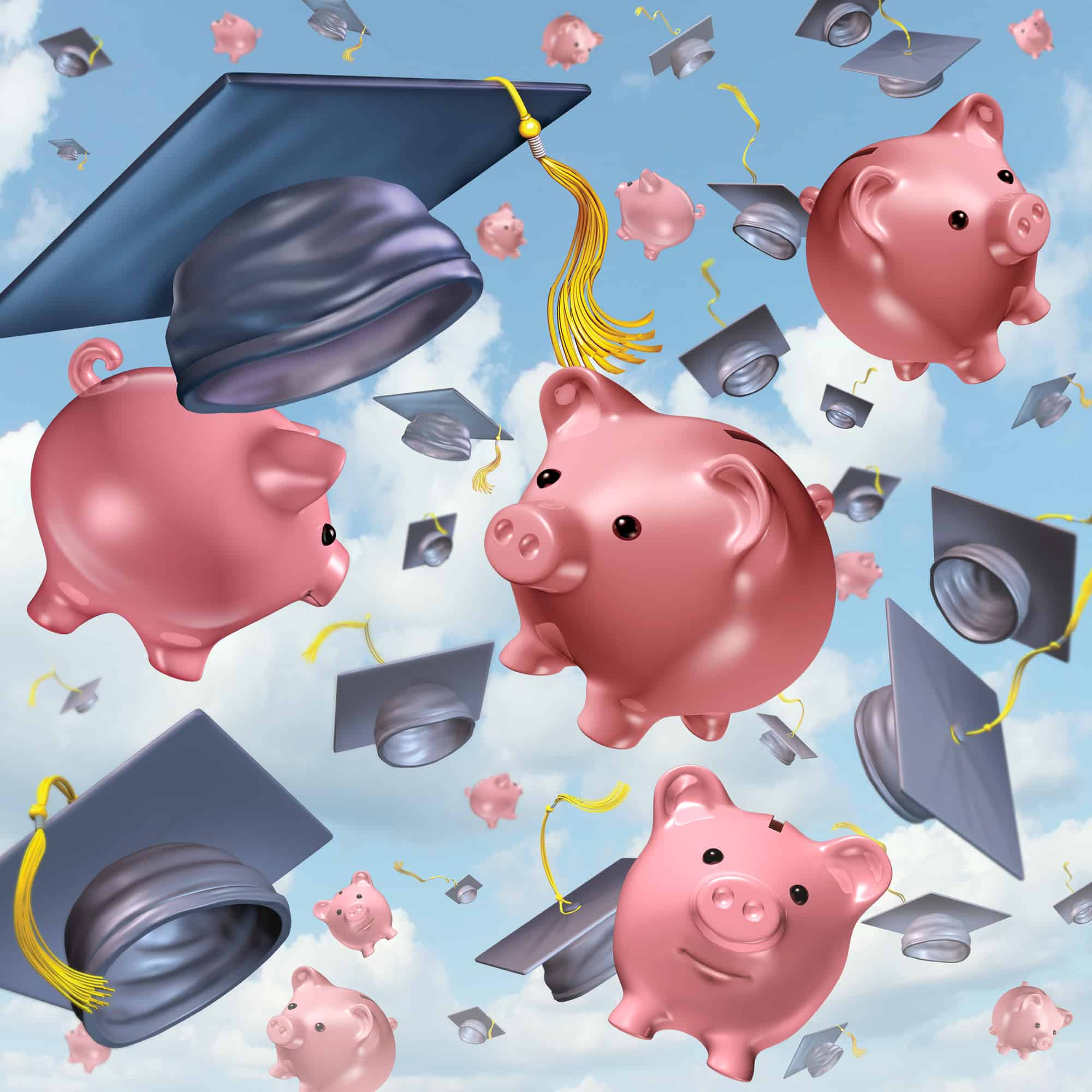 Education savings concept as a group of mortarboards or graduation hats thrown in the air with ceramic piggybanks flying up in the sky as a financial icon and the costs of school tuition and private learning symbol.